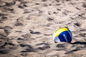 volleyball court on a sandy beach